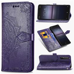 Embossing Imprint Mandala Flower Leather Wallet Case for Sony Xperia 1 II - Purple