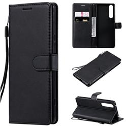 Retro Greek Classic Smooth PU Leather Wallet Phone Case for Sony Xperia 1 II - Black