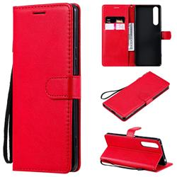 Retro Greek Classic Smooth PU Leather Wallet Phone Case for Sony Xperia 1 II - Red