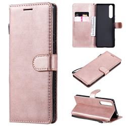 Retro Greek Classic Smooth PU Leather Wallet Phone Case for Sony Xperia 1 II - Rose Gold