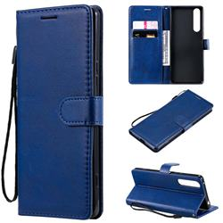 Retro Greek Classic Smooth PU Leather Wallet Phone Case for Sony Xperia 1 II - Blue