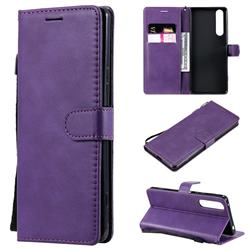Retro Greek Classic Smooth PU Leather Wallet Phone Case for Sony Xperia 1 II - Purple