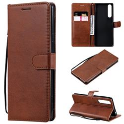 Retro Greek Classic Smooth PU Leather Wallet Phone Case for Sony Xperia 1 II - Brown