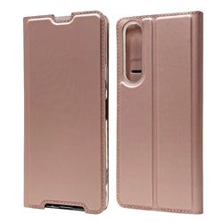 Ultra Slim Card Magnetic Automatic Suction Leather Wallet Case for Sony Xperia 1 II - Rose Gold