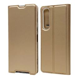 Ultra Slim Card Magnetic Automatic Suction Leather Wallet Case for Sony Xperia 1 II - Champagne