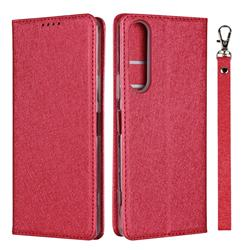 Ultra Slim Magnetic Automatic Suction Silk Lanyard Leather Flip Cover for Sony Xperia 1 II - Red