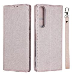 Ultra Slim Magnetic Automatic Suction Silk Lanyard Leather Flip Cover for Sony Xperia 1 II - Rose Gold