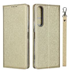 Ultra Slim Magnetic Automatic Suction Silk Lanyard Leather Flip Cover for Sony Xperia 1 II - Golden