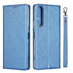 Ultra Slim Magnetic Automatic Suction Silk Lanyard Leather Flip Cover for Sony Xperia 1 II - Sky Blue