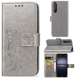 Embossing Imprint Four-Leaf Clover Leather Wallet Case for Sony Xperia 1 II - Grey