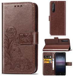 Embossing Imprint Four-Leaf Clover Leather Wallet Case for Sony Xperia 1 II - Brown