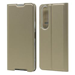 Ultra Slim Card Magnetic Automatic Suction Leather Wallet Case for Sony Xperia 1 III - Champagne