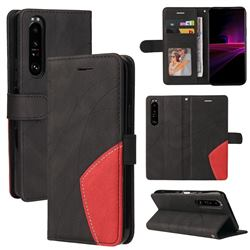Luxury Two-color Stitching Leather Wallet Case Cover for Sony Xperia 1 III - Black