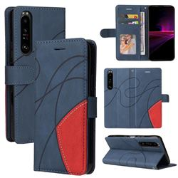 Luxury Two-color Stitching Leather Wallet Case Cover for Sony Xperia 1 III - Blue