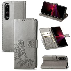 Embossing Imprint Four-Leaf Clover Leather Wallet Case for Sony Xperia 1 III - Grey