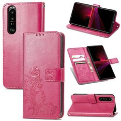 Embossing Imprint Four-Leaf Clover Leather Wallet Case for Sony Xperia 1 III - Rose Red