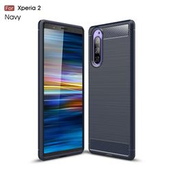 Luxury Carbon Fiber Brushed Wire Drawing Silicone TPU Back Cover for Sony Xperia 2 - Navy