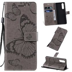 Embossing 3D Butterfly Leather Wallet Case for Sony Xperia 2 - Gray
