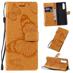 Embossing 3D Butterfly Leather Wallet Case for Sony Xperia 2 - Yellow