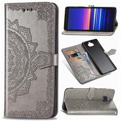 Embossing Imprint Mandala Flower Leather Wallet Case for Sony Xperia 20 - Gray