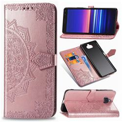 Embossing Imprint Mandala Flower Leather Wallet Case for Sony Xperia 20 - Rose Gold