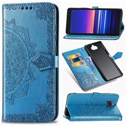 Embossing Imprint Mandala Flower Leather Wallet Case for Sony Xperia 20 - Blue