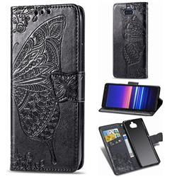 Embossing Mandala Flower Butterfly Leather Wallet Case for Sony Xperia 20 - Black