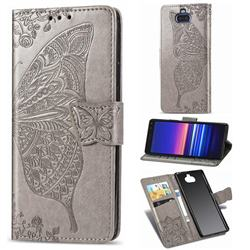 Embossing Mandala Flower Butterfly Leather Wallet Case for Sony Xperia 20 - Gray