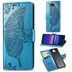 Embossing Mandala Flower Butterfly Leather Wallet Case for Sony Xperia 20 - Blue