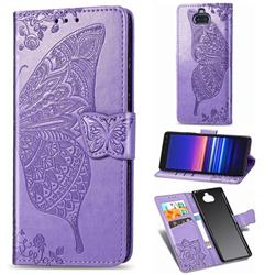 Embossing Mandala Flower Butterfly Leather Wallet Case for Sony Xperia 20 - Light Purple