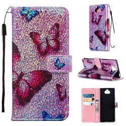 Blue Butterfly Sequins Painted Leather Wallet Case for Sony Xperia 20