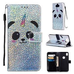 Panda Unicorn Sequins Painted Leather Wallet Case for Sony Xperia 20