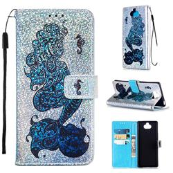 Mermaid Seahorse Sequins Painted Leather Wallet Case for Sony Xperia 20