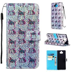 Little Unicorn Sequins Painted Leather Wallet Case for Sony Xperia 20