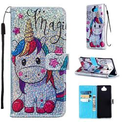 Star Unicorn Sequins Painted Leather Wallet Case for Sony Xperia 20