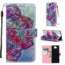 Glutinous Flower Sequins Painted Leather Wallet Case for Sony Xperia 20