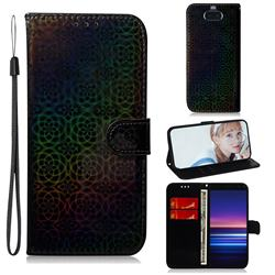 Laser Circle Shining Leather Wallet Phone Case for Sony Xperia 20 - Black