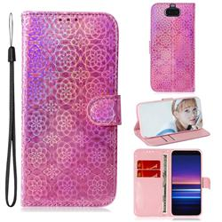 Laser Circle Shining Leather Wallet Phone Case for Sony Xperia 20 - Pink
