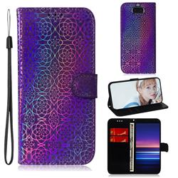 Laser Circle Shining Leather Wallet Phone Case for Sony Xperia 20 - Purple