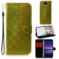 Laser Circle Shining Leather Wallet Phone Case for Sony Xperia 20 - Golden