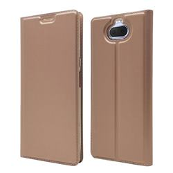 Ultra Slim Card Magnetic Automatic Suction Leather Wallet Case for Sony Xperia 20 - Rose Gold