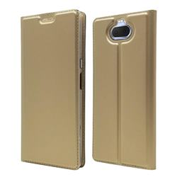 Ultra Slim Card Magnetic Automatic Suction Leather Wallet Case for Sony Xperia 20 - Champagne