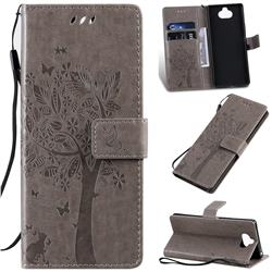 Embossing Butterfly Tree Leather Wallet Case for Sony Xperia 20 - Grey