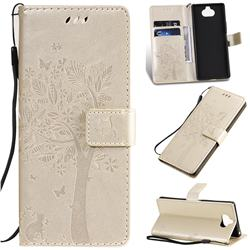 Embossing Butterfly Tree Leather Wallet Case for Sony Xperia 20 - Champagne
