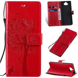 Embossing Butterfly Tree Leather Wallet Case for Sony Xperia 20 - Red