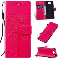 Embossing Butterfly Tree Leather Wallet Case for Sony Xperia 20 - Rose