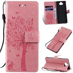 Embossing Butterfly Tree Leather Wallet Case for Sony Xperia 20 - Pink
