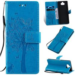 Embossing Butterfly Tree Leather Wallet Case for Sony Xperia 20 - Blue