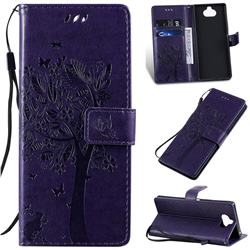 Embossing Butterfly Tree Leather Wallet Case for Sony Xperia 20 - Purple