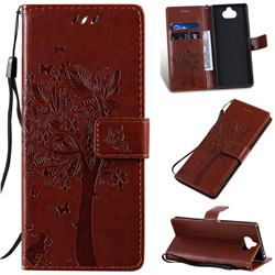 Embossing Butterfly Tree Leather Wallet Case for Sony Xperia 20 - Coffee